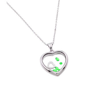 Sterling Silver Birthstones Heart Necklace - May-